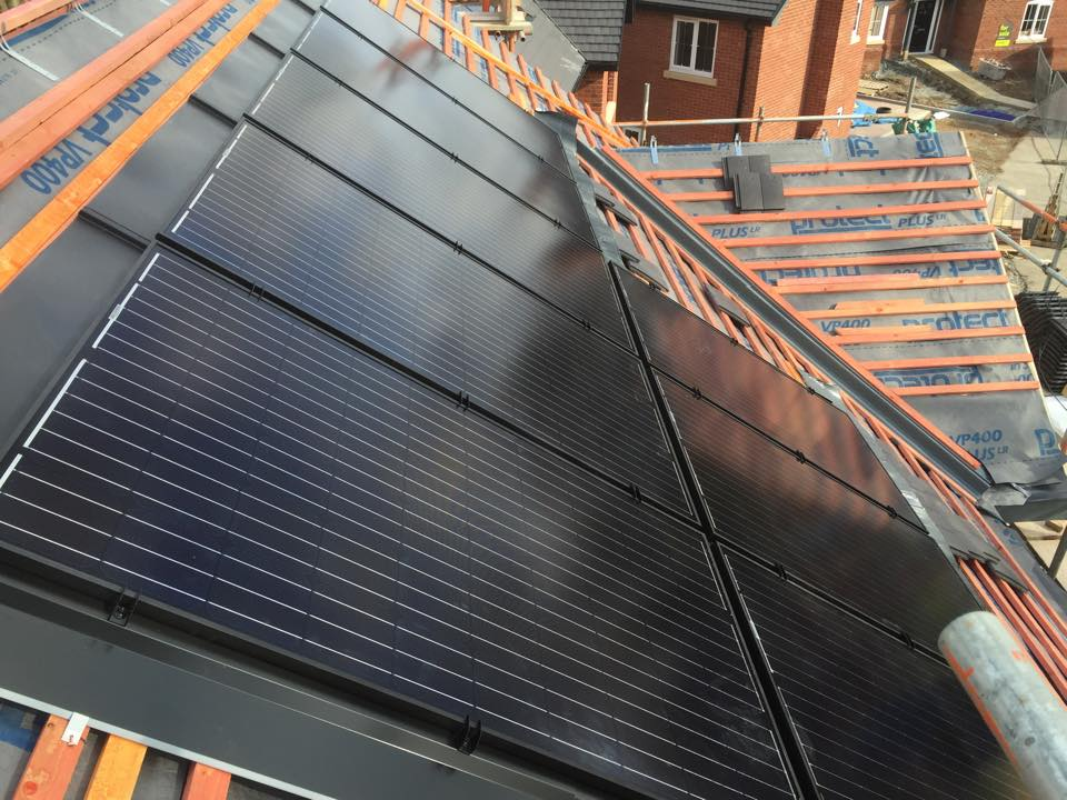 View of solar pv panels top