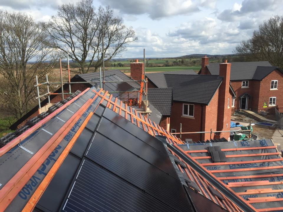 solar PV panels being installed wide