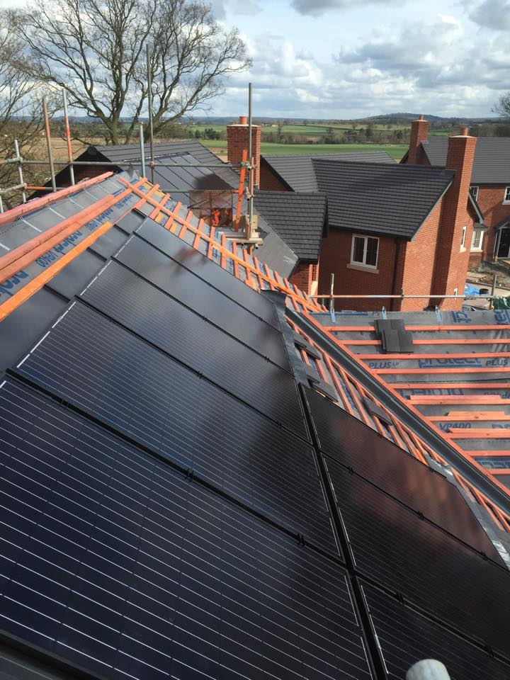 Solar PV panels being installed in Shropshite