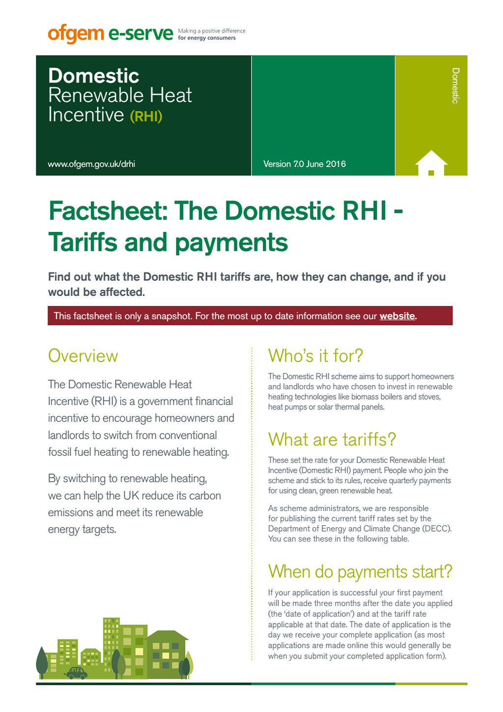 Domestic RHI factsheet tariffs payments June 2016