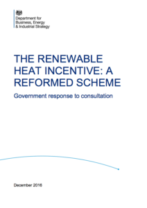 Renewable Heat Incentive: A Reformed Scheme