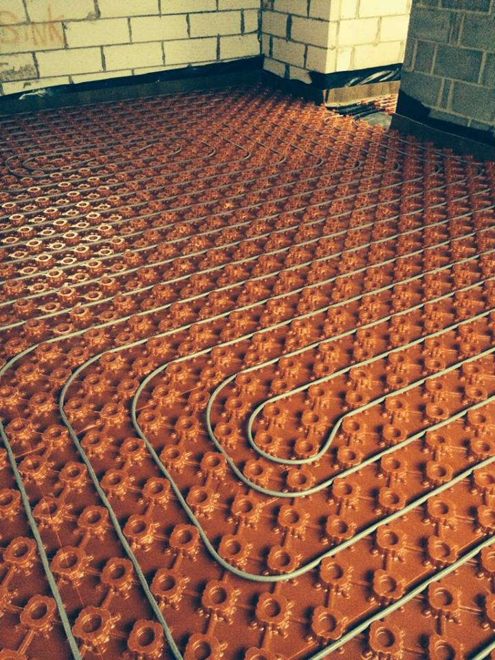 underfloor heating pipes closeup