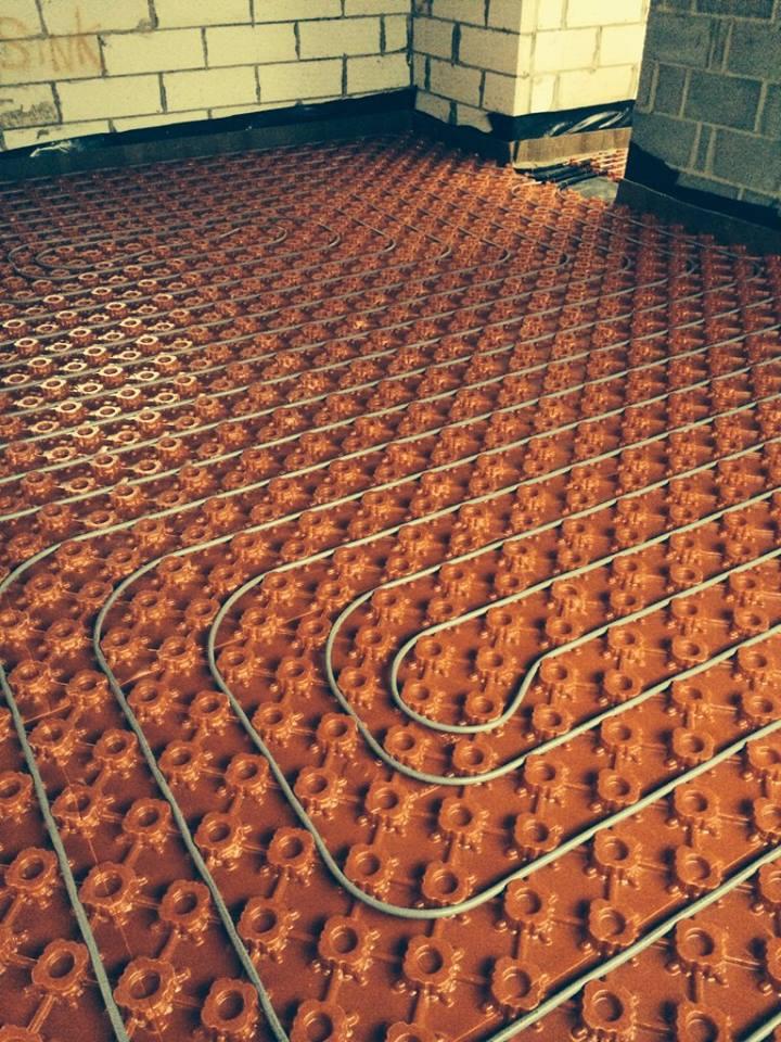underfloor heating pipes closeup