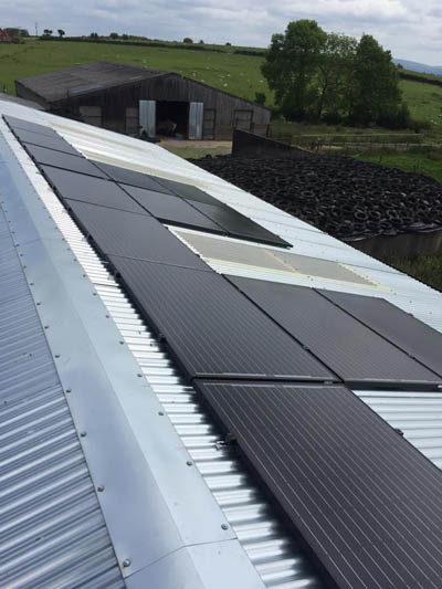 Solar PV installation on farm buildings in Westbury